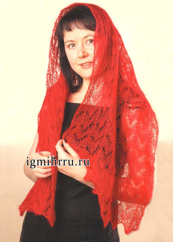 Ажурный красный палантин из кид мохера. Вязание спицами