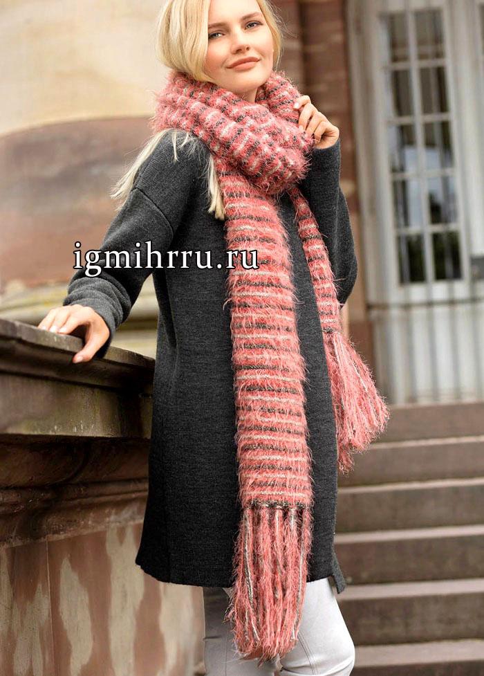 Длинный полосатый шарф с бахромой. Вязание спицами