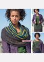 Трансформер: широкий разноцветный шарф-петля. Спицы