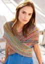 Разноцветная шаль с ажурными полосами. Спицы