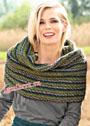 Широкий теплый шарф-петля в полоску. Спицы