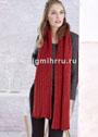 Двухсторонний красный шарф с косами. Спицы