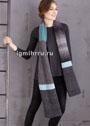 Длинный теплый шарф с цветными полосами. Спицы