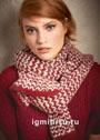 Красно-белый шарф в полоску. Спицы