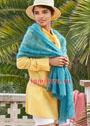 Ажурный мохеровый шарф голубого цвета. Спицы
