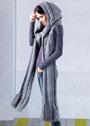 Длинный теплый шарф с крупными косами и капюшоном. Спицы