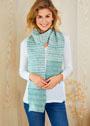 Бирюзово-белый шарф с узором из снятых петель. Спицы