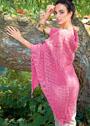 Большая ажурная шаль розового цвета. Спицы