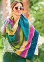 Треугольный многоцветный платок. Спицы