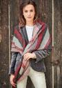 Асимметричный теплый платок с полосами разной ширины. Спицы