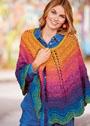 Полукруглая разноцветная шаль. Спицы