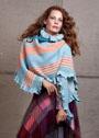 Многоцветный асимметричный платок в полоску. Спицы