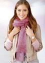 Розовый мохеровый шарф с ажурным узором. Спицы