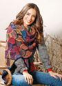 Многоцветный платок с веерными мотивами. Спицы