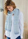 Длинный шарф в бело-голубую полоску. Спицы
