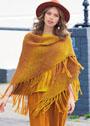 Треугольный желто-оранжевый платок с длинной бахромой. Спицы