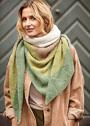 Многоцветная шаль с узором Домино. Спицы