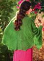 Зеленая ажурная шаль из шерсти альпака. Спицы
