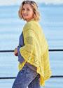 Желтая шаль с сочетанием узоров. Спицы