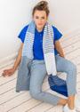 Длинный шарф с полосками, из смесовой хлопковой пряжи. Спицы