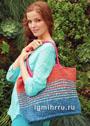 Вместительная разноцветная сумка для летнего сезона. Спицы