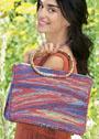 Разноцветная летняя сумка, связанная укороченными рядами. Спицы