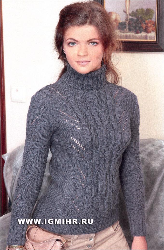 теплый свитер с косами и