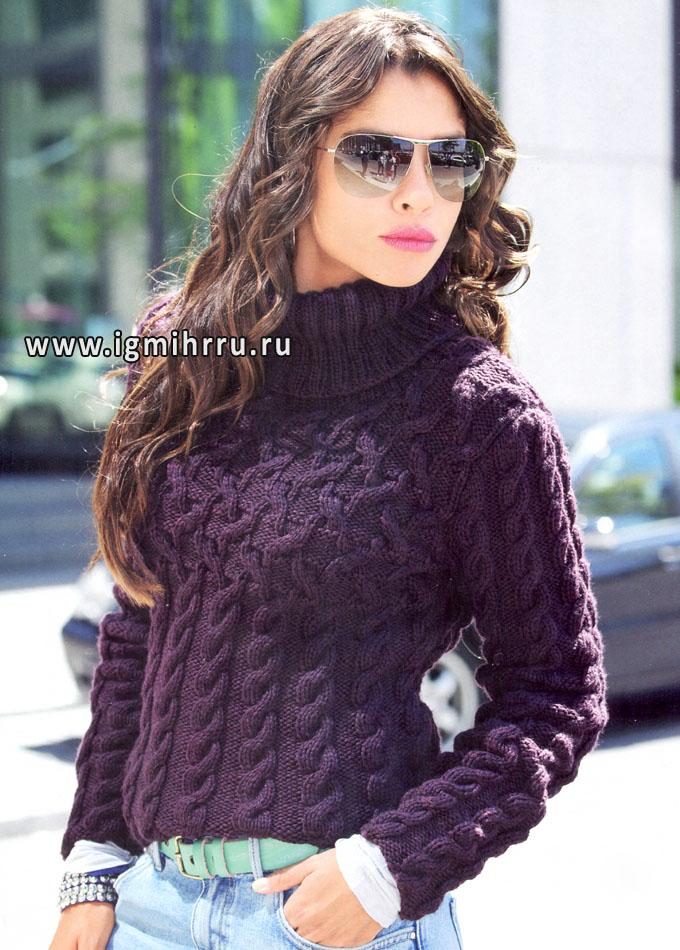 Шерстяной свитер цвета бордо с косами, от Verena. Спицы