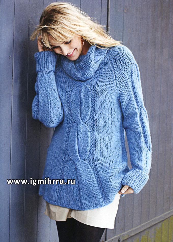Мягкий и теплый свитер голубого цвета, с косами. Спицы