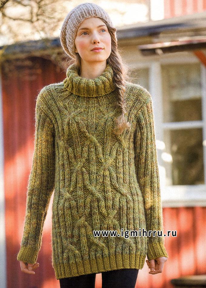 Длинный меланжевый свитер с рельефными узорами, от финских дизайнеров. Спицы