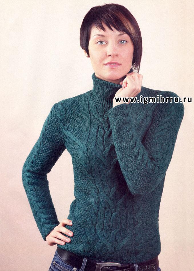Темно-зеленый шерстяной свитер с косами. Спицы