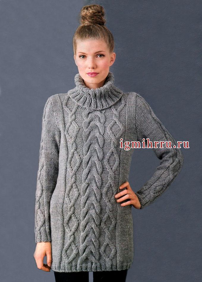 Длинный шерстяной свитер с объемными аранами, от финских дизайнеров. Спицы