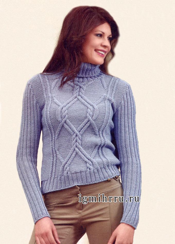 Серо-голубой свитер с ирландскими узорами, от итальянских дизайнеров. Спицы
