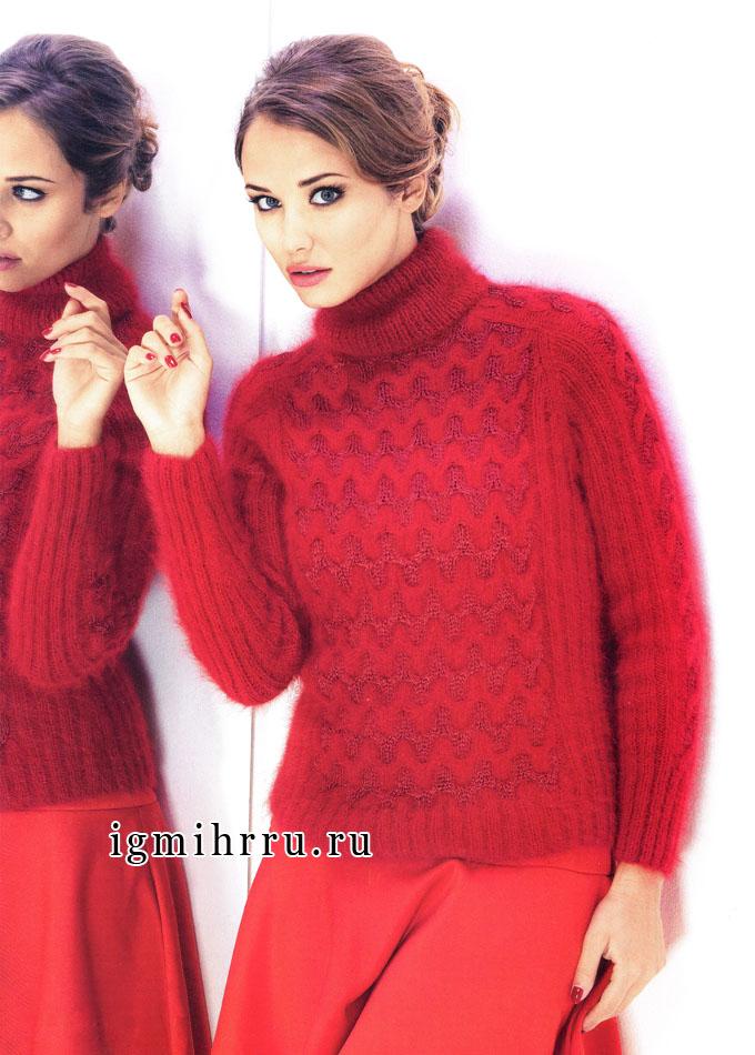 Элегантный красный свитер с фантазийным узором, от французских дизайнеров. Спицы