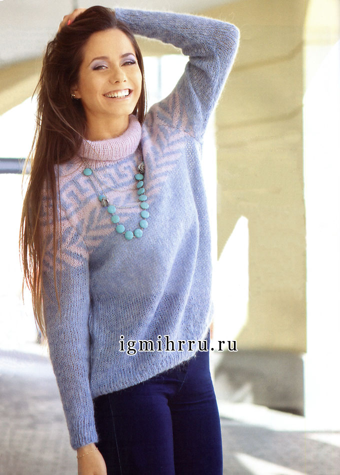 Мягкий мохеровый свитер с жаккардовым узором. Вязание спицами