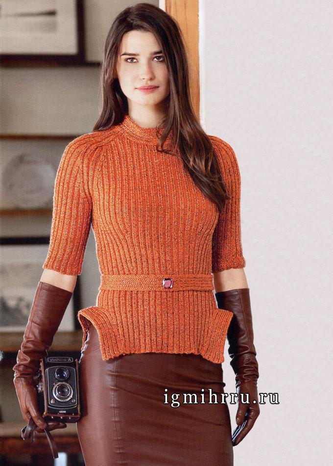 Минимализм стиля в сочетании с необычным кроем. Оранжевая водолазка с поясом, от французских дизайнеров. Вязание спицами