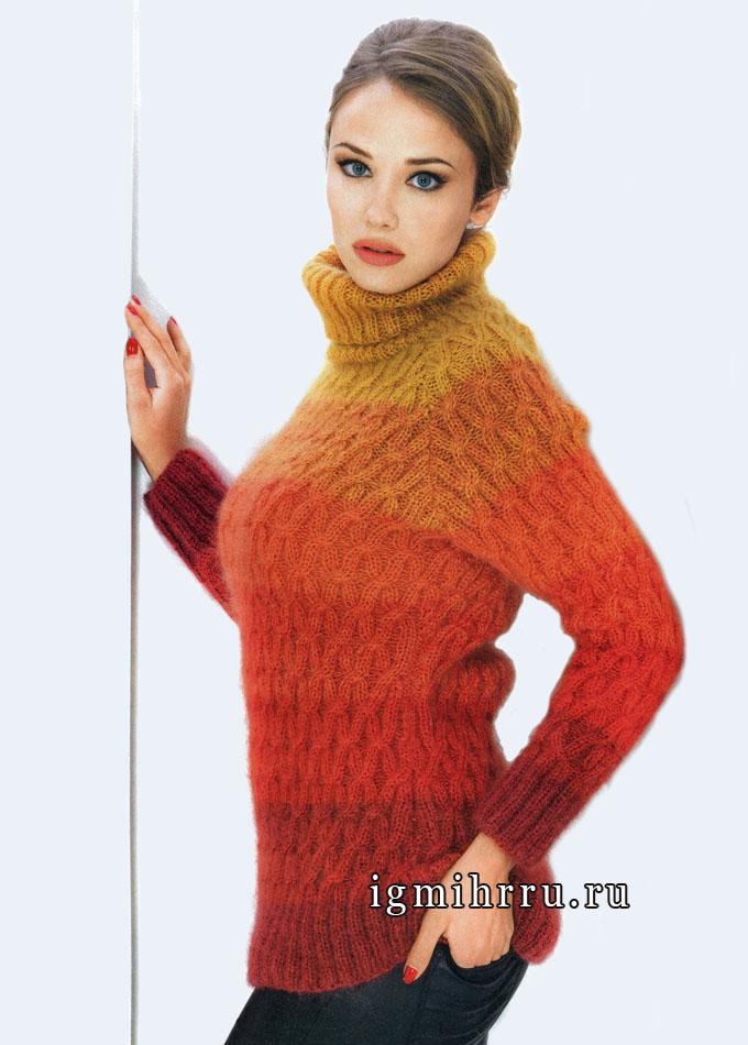 Мохеровый свитер в оранжевых тонах, с фантазийным узором, от французских дизайнеров. Вязание спицами