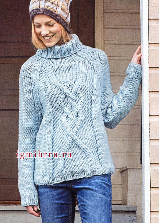 Голубой свитер-реглан с аранами, от финских дизайнеров. Вязание спицами