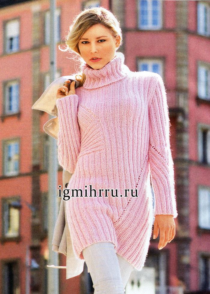 Удлиненный мягкий свитер с диагональными узорами, от немецких дизайнеров. Вязание спицами