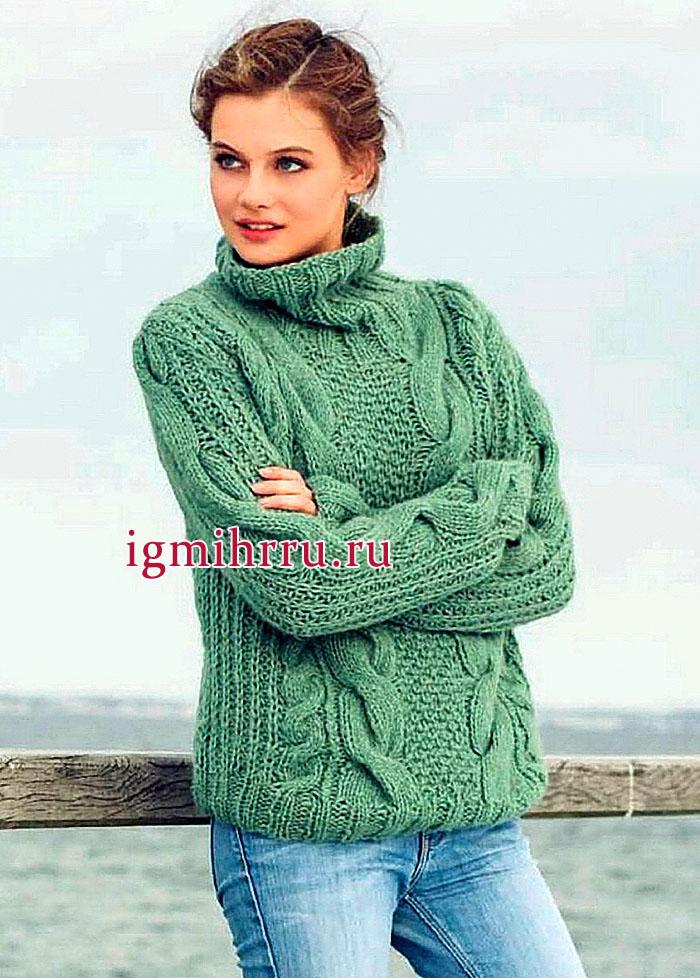 Серо-зеленый теплый свитер с объемными косами, от немецких дизайнеров. Вязание спицами