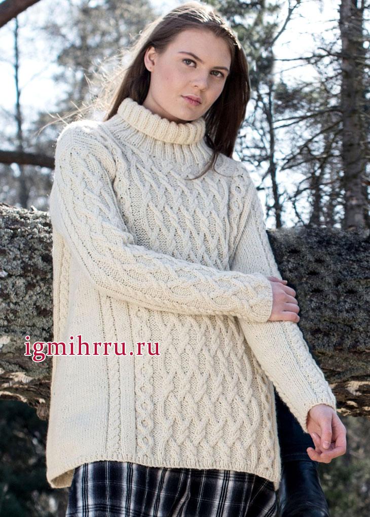 Теплый белый свитер с рельефными узорами, от финских дизайнеров. Вязание спицами