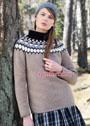 Бежевый шерстяной свитер с круглой жаккардовой кокеткой. Спицы