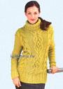 Желто-зеленый свитер из мериносовой шерсти, с узором из кос. Спицы