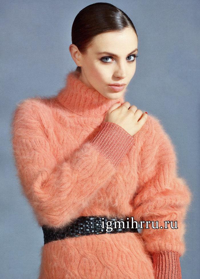 женственный мягкий свитер розового цвета с косами вязание спицами