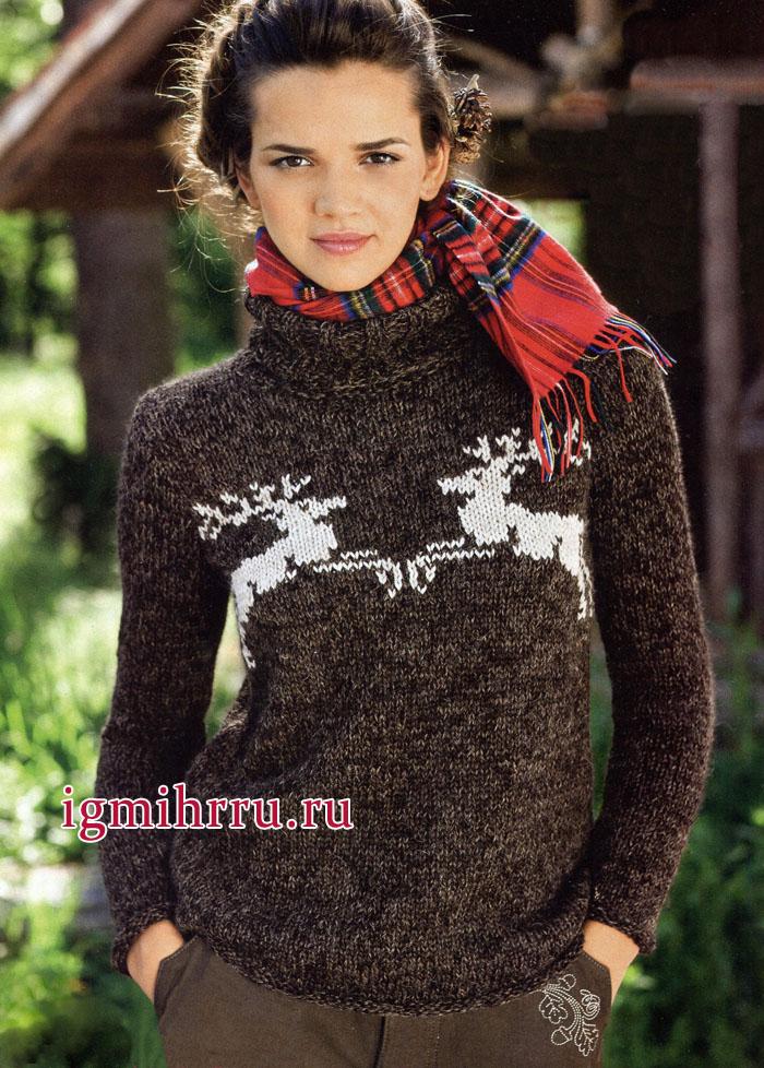 Коричневый свитер с мотивом из прыгающих оленей. Вязание спицами