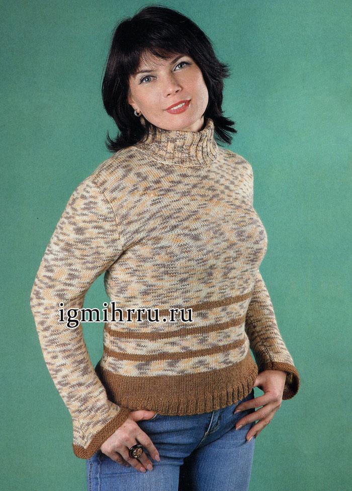 В спортивном стиле. Пестрый свитер простой вязки, из секционно окрашенной пряжи. Вязание спицами