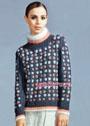 Мягкий и пушистый свитер с цветочными мотивами. Спицы