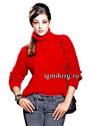 Мягкий пушистый свитер красного цвета, из ангоры. Спицы