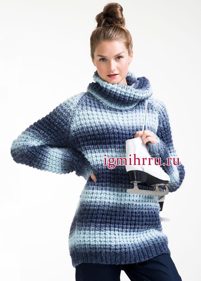 Полосатый сине-голубой свитер с объемным воротником. Вязание спицами