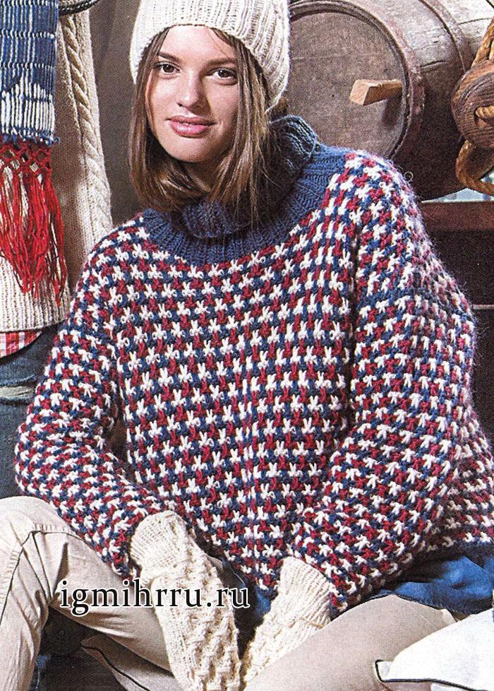 Теплый разноцветный свитер. Вязание спицами